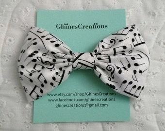 Floating Music Notes Fabric Hair Bow~ Music Notes Fabric Hair Bow~ Classic Hair Bow~ Fabric Hair Bow~ Classic Hairbow~ Fabric Hairbow