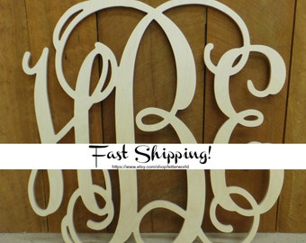 Wooden Monogram - Unpainted Wood Monogram Wall Hanging - Monogram Door Hanger - Wedding Monogram - Nursery Monogram - Wooden Initials *
