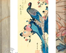 Japanese peacock, flowers, EXTRA LARGE printable image, vintage watercolor painting, Instant download, Asian art transfer, wall decor (B003)