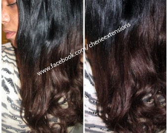 Balayage Dip Dye 8A Remy Human Hair Extensions Like Invisible Couture Flip In Angel Wire   #1B Off Black #4 Med. Brown Ombre Dip Dye