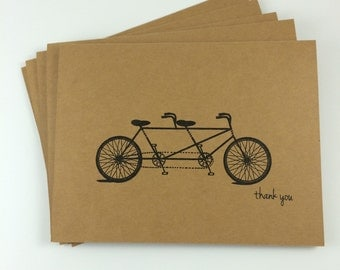 Simple Rustic Tandem Bicycle Wedding Thank You Cards (SET of 5)