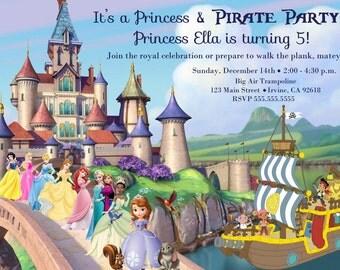 Princess & Pirates invitation, Disney Birthday, Sofia the First, Cinderella, Jake, Ariel, Aurora, Tiana, Frozen, Belle, Snow White, Elsa