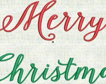 Merry Christmas Fancy Script  Machine Embroidery Font  Designs Holiday  2 sizes PES Format Instant Download