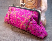 Cerise Pink Leaf Design Sari Embroidered Clutch P10