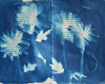 Blue Lucy - Original Cyanotype on Antique Book Pages