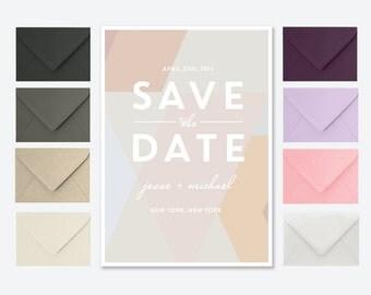 Geometric Save the Date Card or Postcard in Neutral Tones - Jesse Block