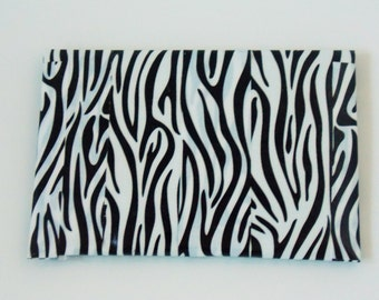 Duck tape coin purse / card holder with black and white animal print