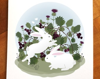 Bunny greeting card, Easter card, bunnies and blackberries, rabbit card,
