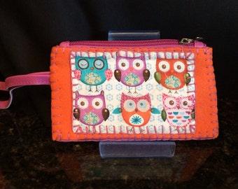 Pink and Orange Owl Gadget Case