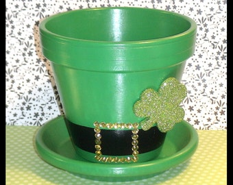 "St. Patrick's Day Flower Pot and Saucer - Irish Hat Planter - ""Charmin' Chapeau"""
