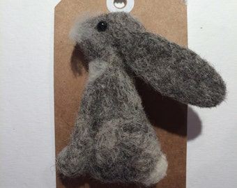 Needle felted hare ( bunny rabbit ) brooch hand made  gift