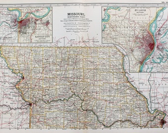 Kansas State Map Etsy - Map of northern missouri