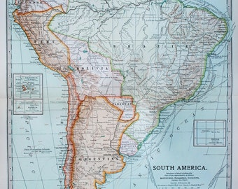 Antique Map : South America. Continent. Encyclopedia Britannica, 1890s (121)