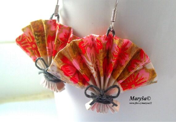 Items Similar To Origami Fan Earrings In Pink Washi