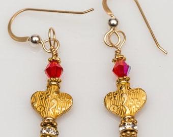 heart of gold earrings, gold filled, Swarovski crystal earrings, dangle earrings, silver earrings