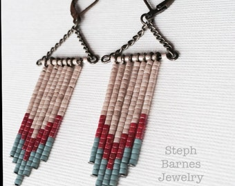 Fringe earrings in teal, pink and cream