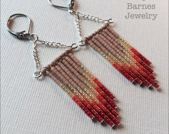 Phoenix inspired warm fringe earrings