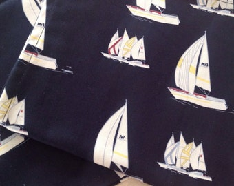 Yacht Club napkins/ serviettes in stylish cotton navy with sailboat print