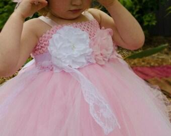 Girl's Pink Flower Girl Dress With Vintage Sash and Headband