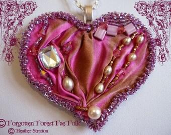 Shibori silk heart pendant