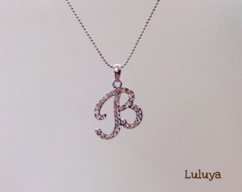 Alphabet Initial Letter B Crystal Necklace Pretty Great Gift Holiday Birthday Favor