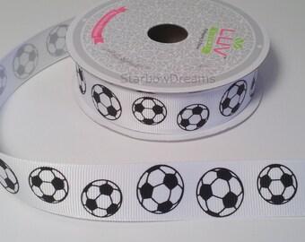 "7/8"" Grosgrain Soccer Ribbon - 10 Yards"