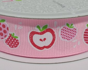 "7/8""  Apple Fruits Grosgrain Ribbon - 10 Yards"