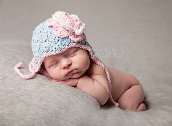 Hand Crochet Baby Shell Earflap Hat with Flower in Cotton