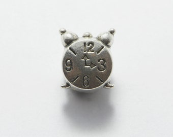 20pcs Analogue Clock Beads in Antique Silver, 11mm, European Style Large Hole Beads, Side Drilled, Timer, Alarm, Timepiece #SD-S6905