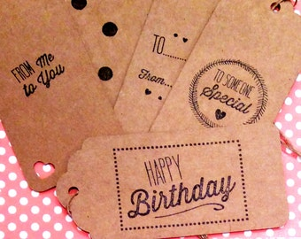 Birthday Gift Tags, Brown Gift Tags, Brown Card Gift Tags, Kraft Paper Gift Tags, Gift Wrap, Retro Gift Tags, Large Tags, Set of 10