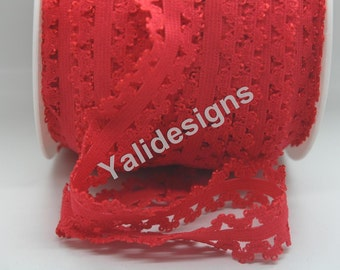 U Pick 1 or 5 or 10 Yards Red 3/4''  Picot Edge Stretch Lace, Frilly edges elastic webbing,Lace for Headbands,Wholesale Headbands YTA35D