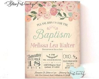 Floral Baptism Invitation Girl Floral Christening Invitation, Naming Day , 1st Holy Communion, Dedication Invite Printable No.538BAPTISM