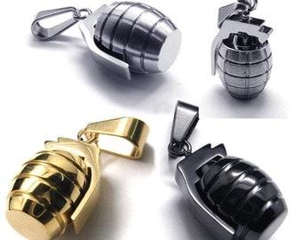 Stainless Steel Grenade Pendant Mens Necklace Mens Biker Silver Grenade shape Chain Pendant Necklace Silver Grenade Necklace Cool Men's Gift