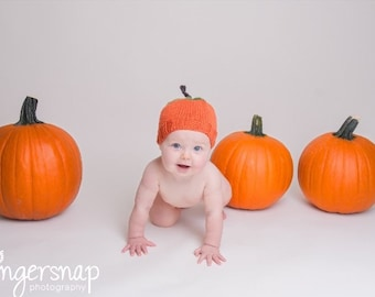 Hand Knit Pumpkin Hat - Adult or Child - Ready to Ship