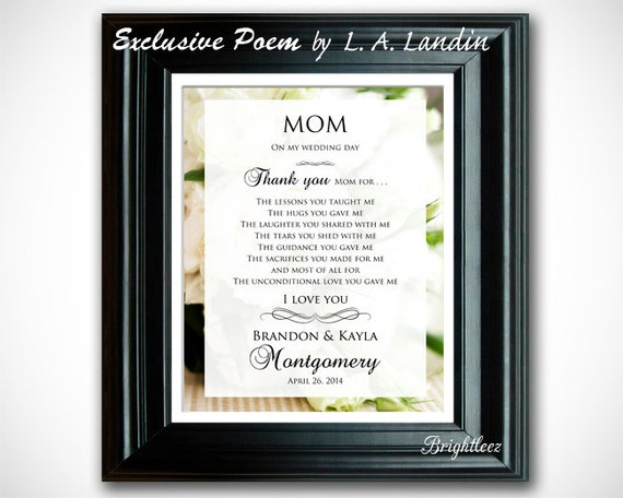 Wedding Thank You Gift For Mom : Thank You Mom Wedding Gift, Personalized Elegant Thank You Gift ...