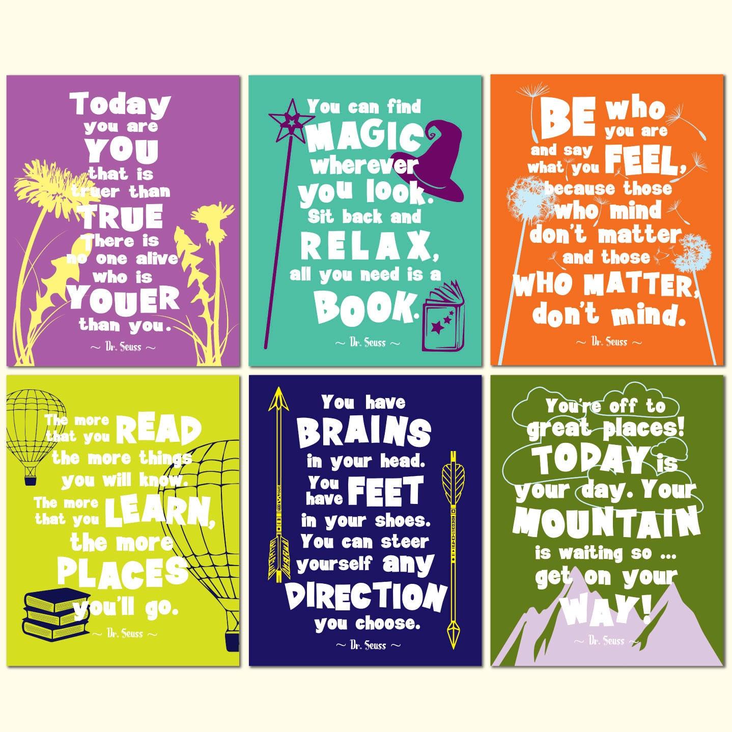 Dr seuss motivational quotes print set inspirational kids room for Inspirational quotes for kids room