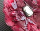 Maroon Red Flower Hair Clip, Created with Plastic Shopping Bags!