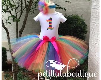 Rainbow Circus Age Birthday Tutu set any size available 12m to 9y FREE Headband