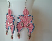 METAL - earrings hand-woven macrame - margarete lace, butterfly design, cotton pink, pearl silver and blue