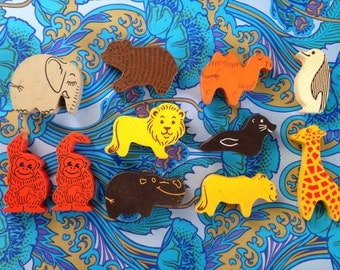 Vintage 1950s 1960s 1970s WOODEN zoo ANIMAL BLOCKS lion seal penguin monkey hippo elephant bear giraffe camel Painted Colourful Printed wood