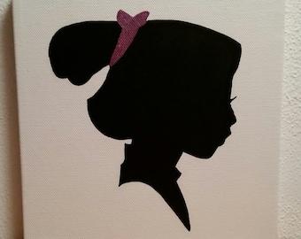 Minimalist Mulan Silhouette - Acrylic on 8x8