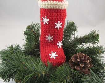 Santa Boot Christmas Ornament-A delightful addition to your Christmas tree decorations this holiday season. Crochet from the great Northwest