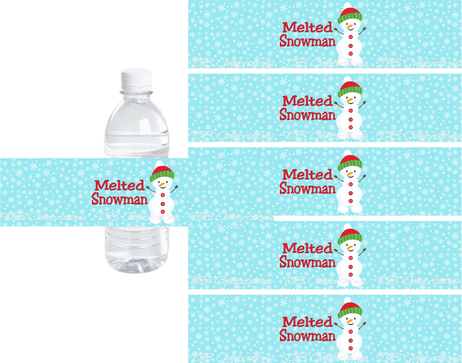 melted snowman water bottle labels instant by dbcelebrations. Black Bedroom Furniture Sets. Home Design Ideas