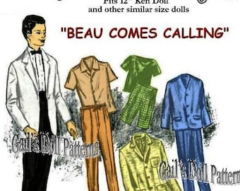 "Vintage ""Beau Comes Calling"" Wardrobe Pattern for 12"" Ken Doll & Other Similar Dolls"