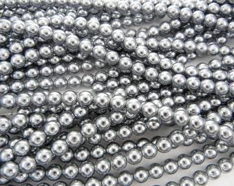 Silver Grey Pearl, Czech Round Glass Imitation Pearls in 2mm, 3mm, 4mm, 6mm, 8mm, 10mm, 12mm