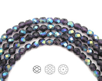Tanzanite AB coated, Czech Fire Polished Round Faceted Glass Beads, 3mm, 4mm, 6mm on a 16 inch strand, purple with Aurora Borealis coating