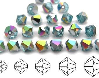 Aqua Vitrail coated, Czech MC Bicone Bead (Rondell, Diamond Shape) in 3mm, 4mm and/or 6mm, Light Blue Vitrail Beads