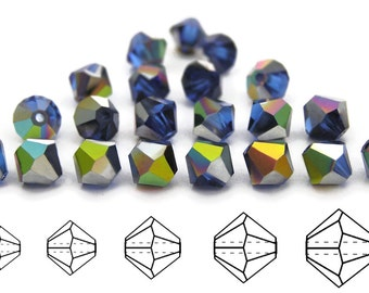 Sapphire Vitrail coated, Czech MC Bicone Bead (Rondell, Diamond Shape) in 4mm and/or 6mm, Blue Vitrail Coated Beads