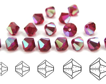 Siam AB coated, Czech MC Bicone Bead (Rondell, Diamond Shape) in 3mm, 4mm and/or 6mm, Red AB Beads, Aurora Borealis Crystals