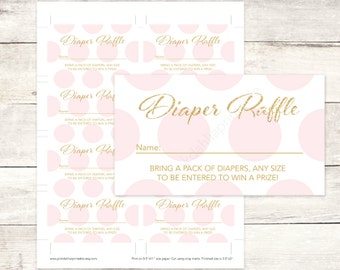 pink gold diaper raffle tickets printable baby shower DIY pink gold baby digital shower games - INSTANT DOWNLOAD